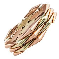 Mid-Century Two Color Gold Link Bracelet