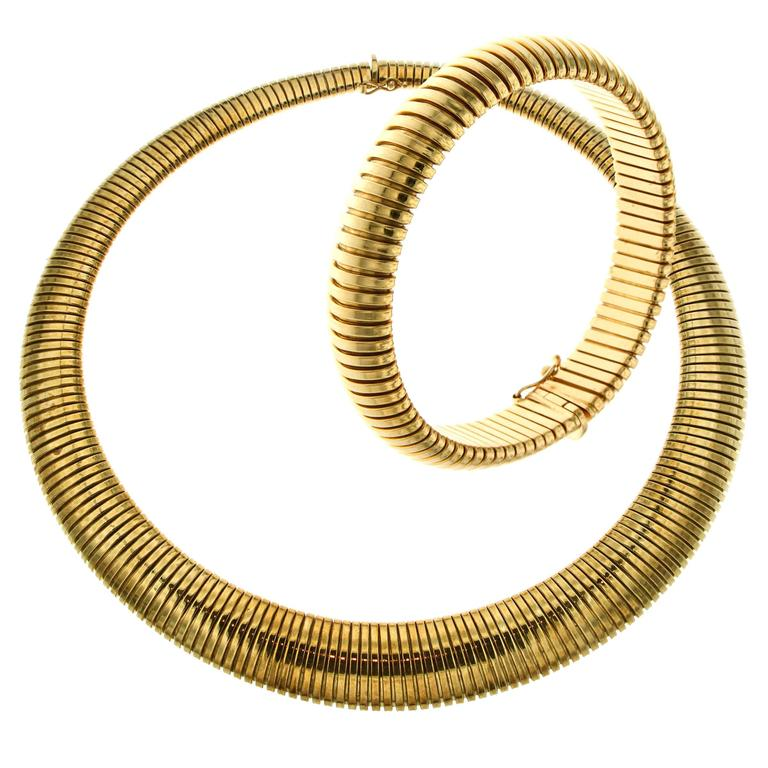 Yellow Gold Bracelet Necklace Set Tubogas, 1980s