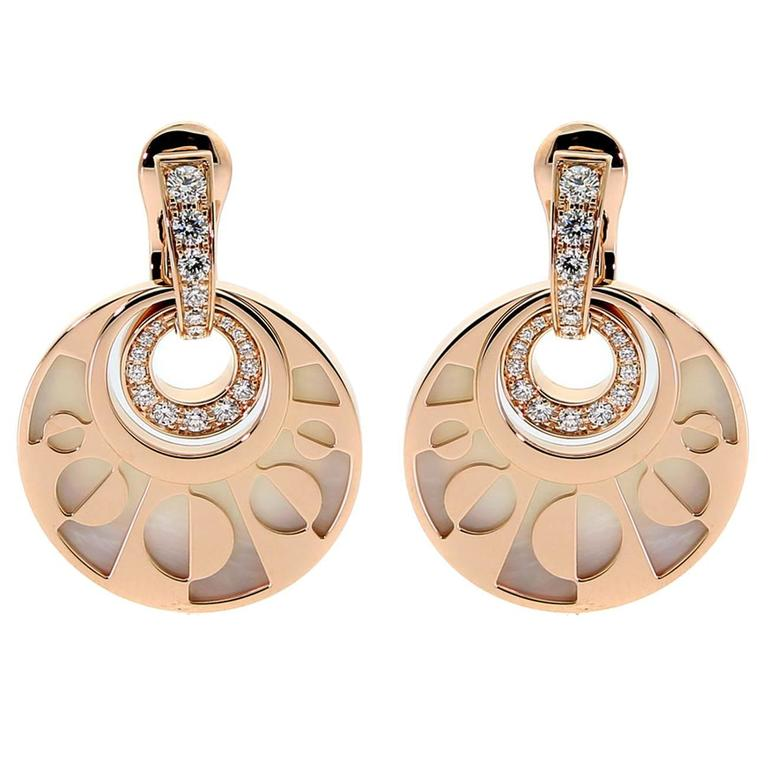 Bulgari Mother Of Pearl Diamond Gold Dangle Earrings For