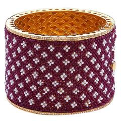 Artisan Exclusive Hand-Sewn Ruby Pearl Gold Bangle Bracelet