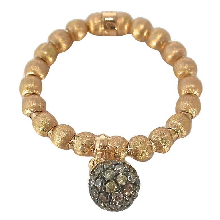 Jona Brown Diamond Charm 18 Karat Rose Gold Flexible Ring For Sale