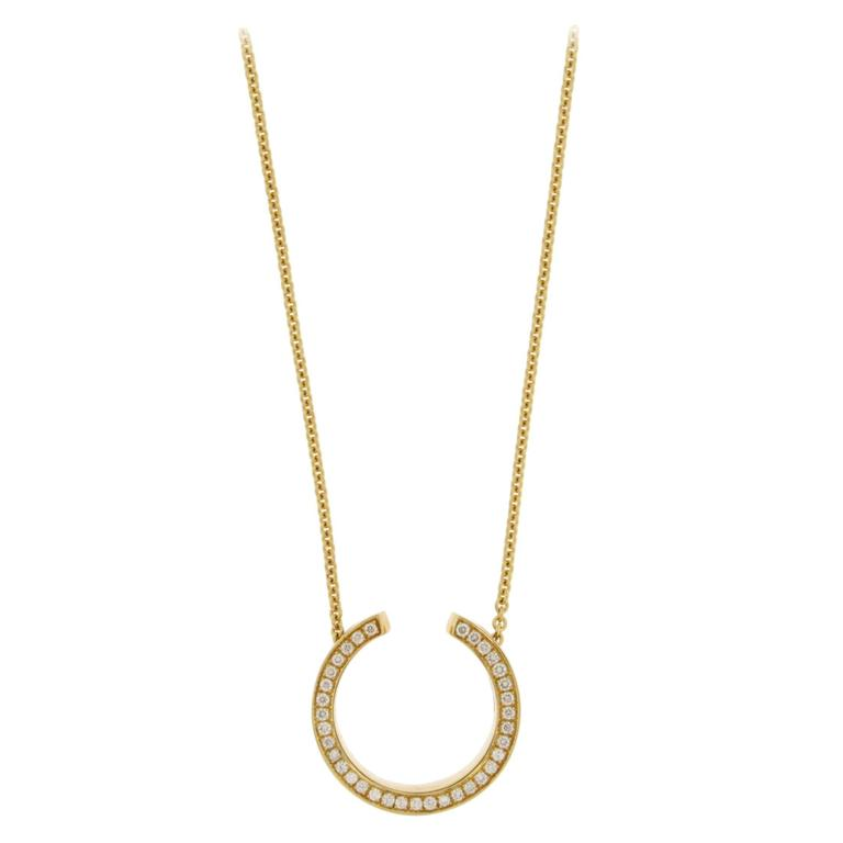Jona White Diamond 18 karat Yellow Gold Double Sided Pendant Necklace For Sale
