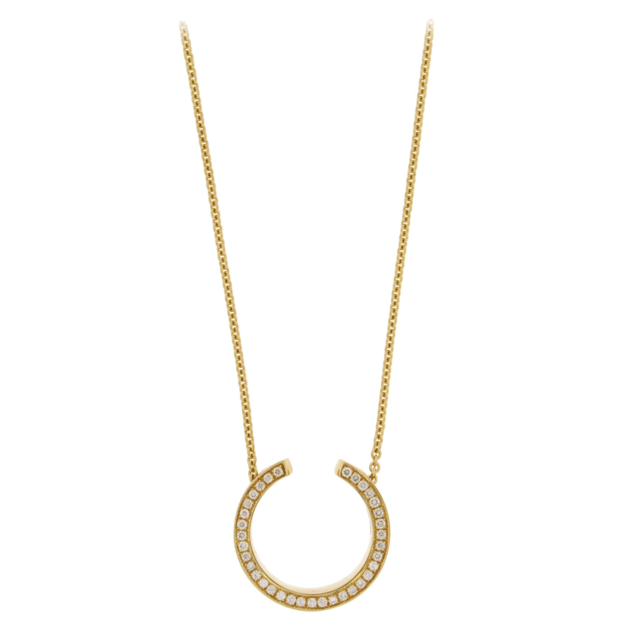 Jona White Diamond 18 karat Yellow Gold Double Sided Pendant Necklace
