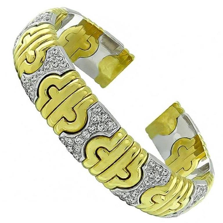 2.50 Carat Diamond Two Tone Gold Bangle Bracelet