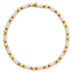 Bulgari Chandra Porcelain Gold Beaded Necklace