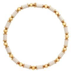 Bulgari Chandra Porcelain Gold Beaded Necklace