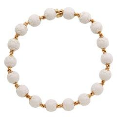 Bulgari Chandra Porcelain Bead Gold Necklace