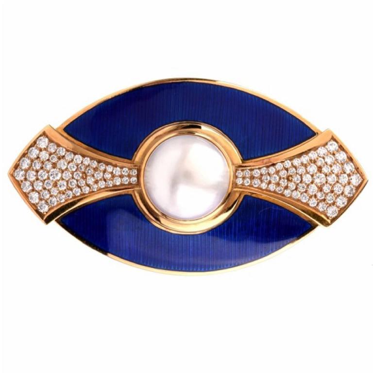 De Vroomen Enamel Pearl Diamond Gold Blue Brooch Pin