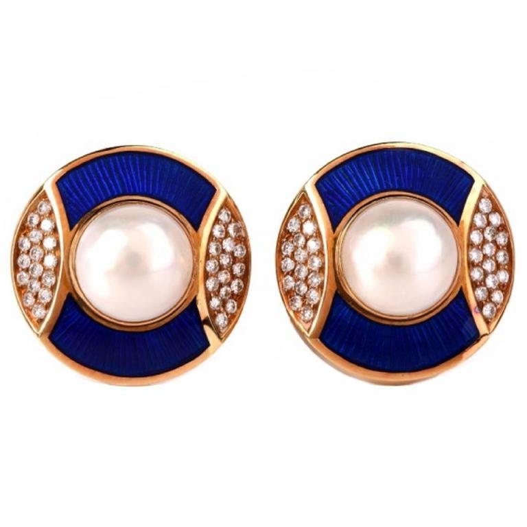De Vroomen Enamel Pearl Diamond Gold Clip-Back Earrings