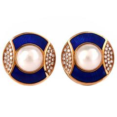 De Vroomen Enamel Pearl Diamond Gold Clip-Back Earrings