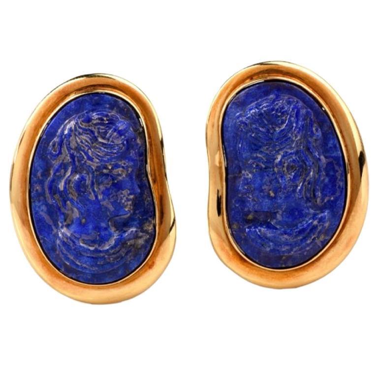 Designer Lapis Lazuli Cameo Gold Clip-Back Earrings