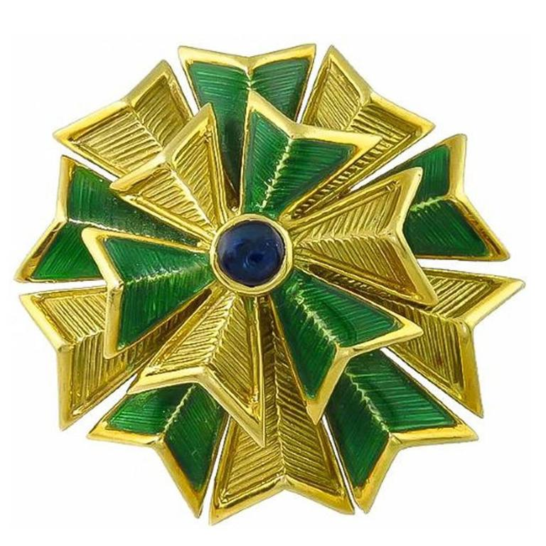 Tiffany & Co. Cabochon  Sapphire Enamel Gold Pin For Sale