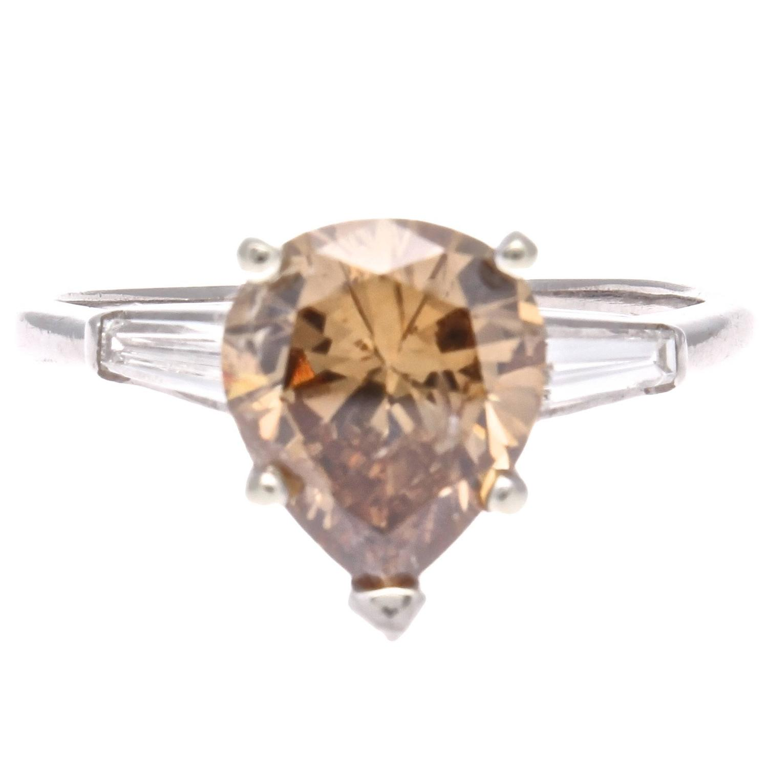 carat z diamond j shape champagne ring pear jewelry colored img engagement id at platinum org rings