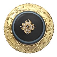 Agate and Pearl, 18k Yellow Gold Brooch/Locket - Antique Victorian