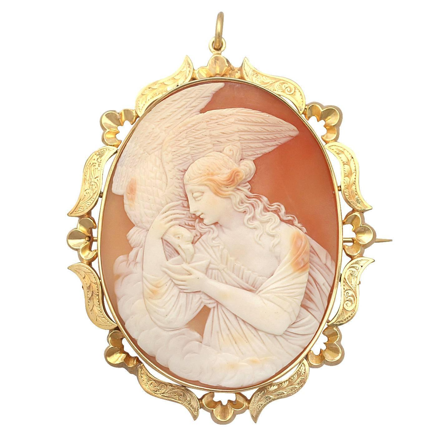Cameo Brooch Pendant In 9 K Yellow Gold Antique
