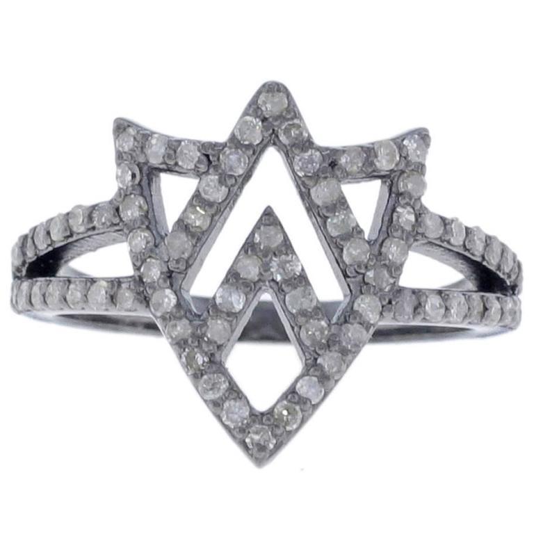 Chevron Shield White Diamond Ring