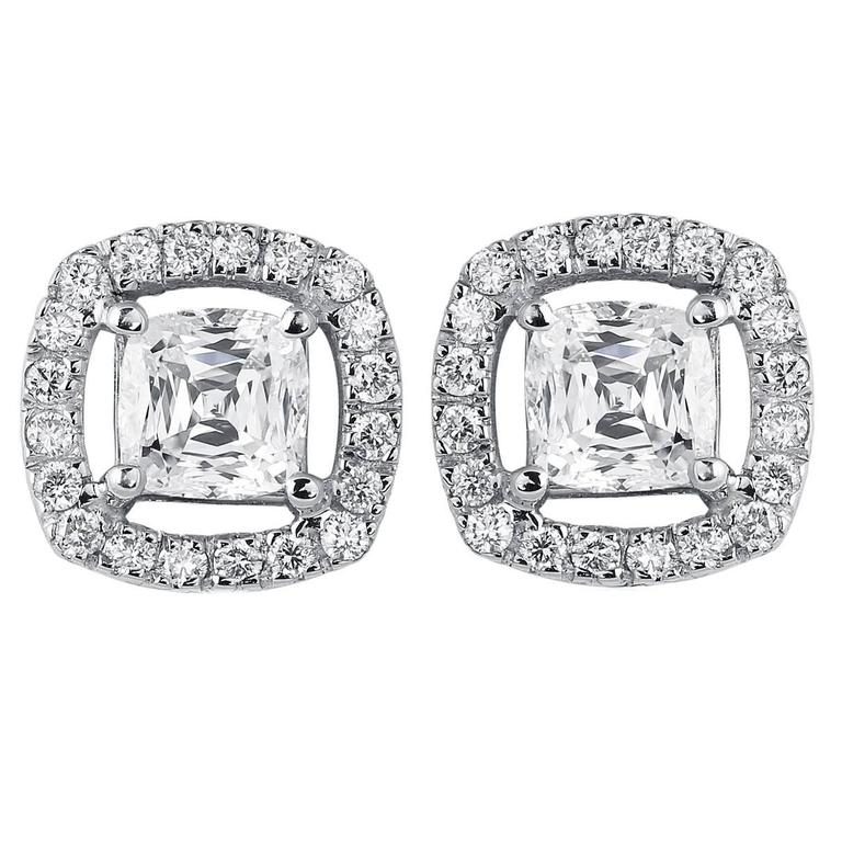 Cushion Cut Diamond Gold Stud Earrings