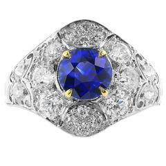 1.32 Carat Sapphire Diamond platinum Ring