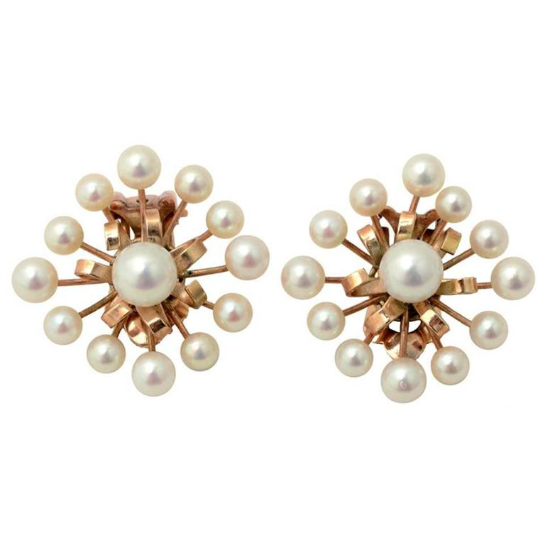 1950s Pearl Gold Earrings