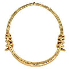 1940s Mellerio Diamond Gold Torque Style Necklace