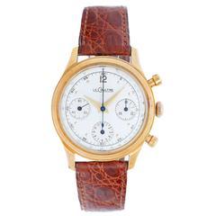 LeCoultre Yellow Gold Chronograph Screw Back Case Wristwatch