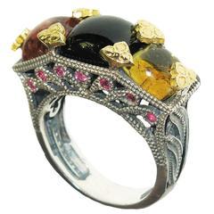 Stambolian Tourmaline Sapphire Silver Gold Ring