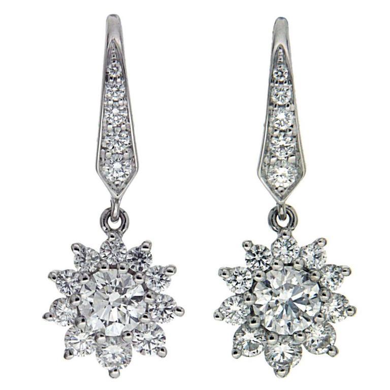Lever Back Cluster Diamond Gold Dangle Earrings
