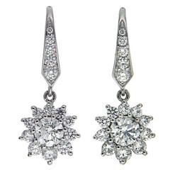 Lever Back Cluster Diamond Gold Dangle Earrings