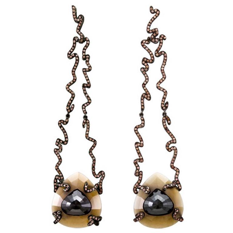 William Ehrlich Zig Zag Long Drop Earrings  1