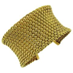 1960s Paul Flato Yellow Gold Woven Cuff Bracelet