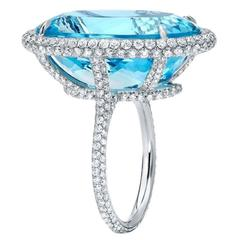 Tamir Incredible 22.20 Carat Aquamarine Diamond Platinum Ring