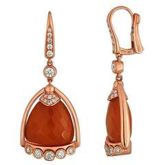 Angeletti Coral and Rose Gold Italian Diamond Earrings