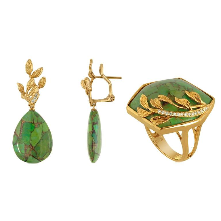 51.00 Carats Green Turquoise Diamond Gold Earrings and Ring Set