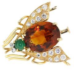 1980s Van Cleef & Arpels Citrine Emerald Diamond Gold Fly Pin