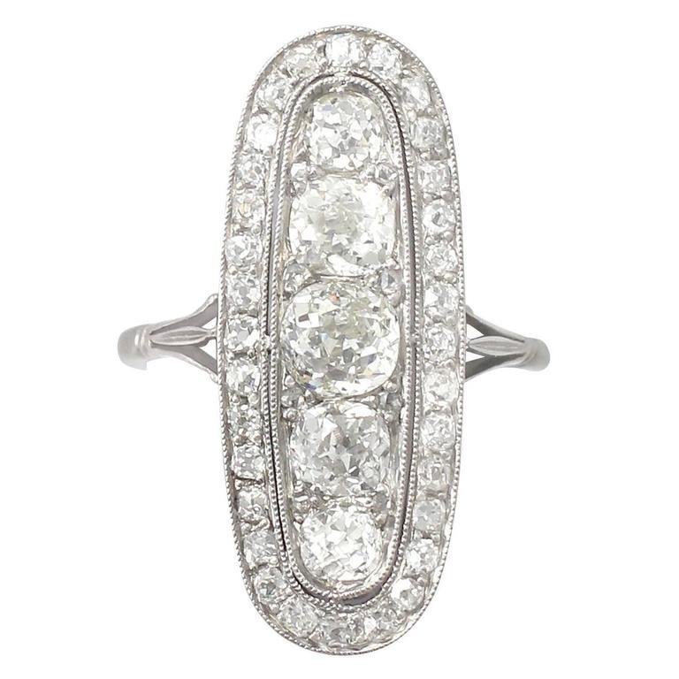 Antique 3.24 Carat Diamond & Palladium Cocktail Ring 1
