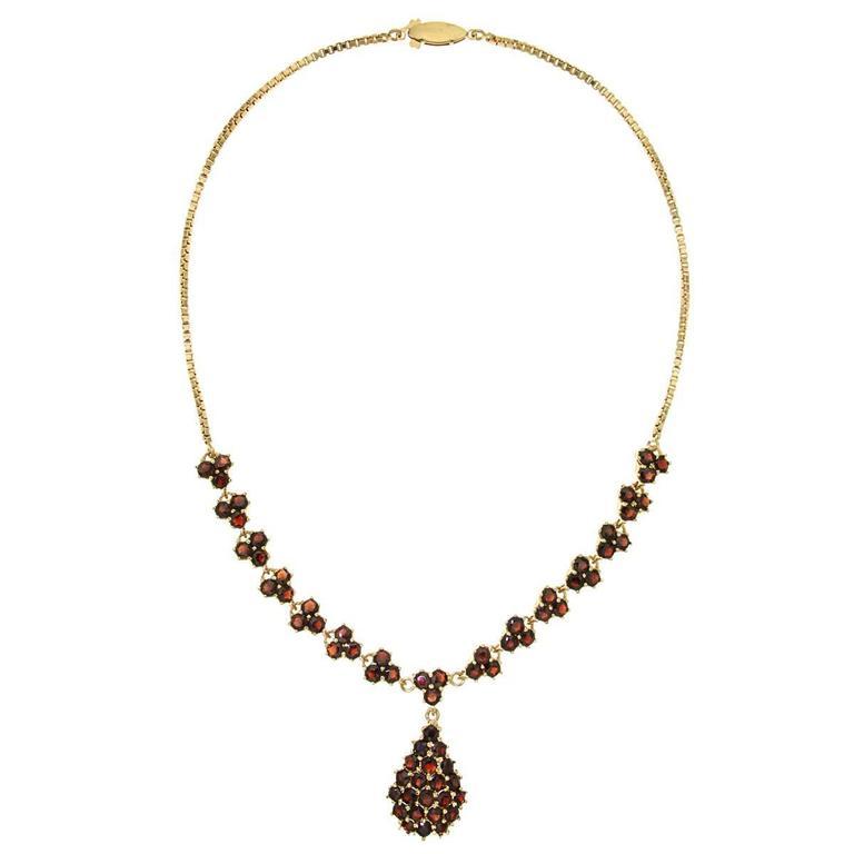 Red Garnet Yellow Gold Choker Necklace, 1970s