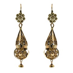 Antique 1750s Rose Gold Bourbonist Earrings