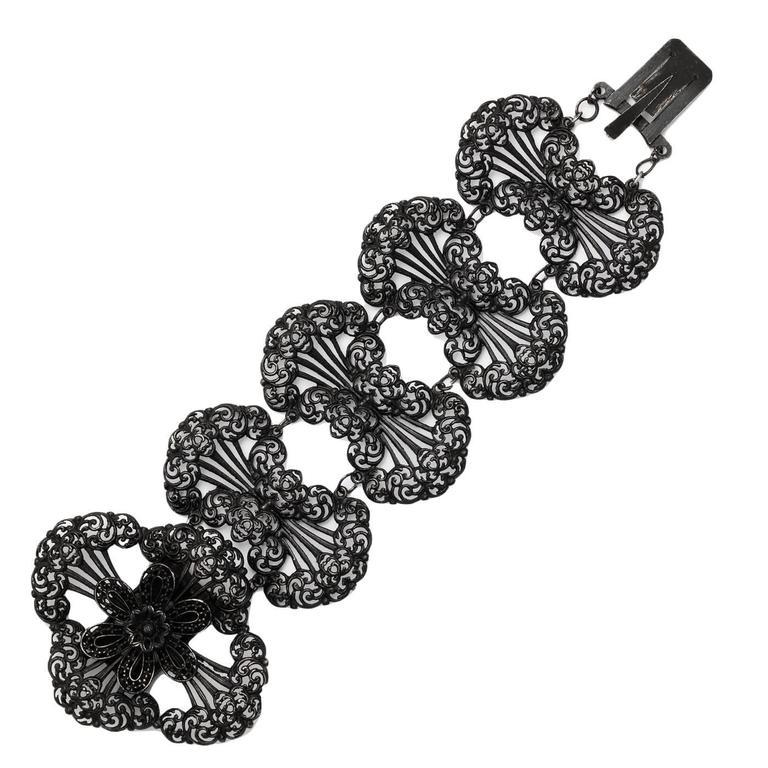 Wide and Fanciful Georgian Berlin Iron Bracelet