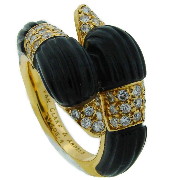 1970s VAN CLEEF & ARPELS Black Onyx Diamond & Yellow Gold Ring