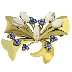 1940s Tiffany & Co. Montana Sapphire Moonstone Gold Pin