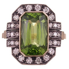6.53 Carat Peridot Diamond Silver Gold Plaque Ring