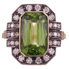 6.53 Carat Peridot Diamond Silver Gold Plaque Ring