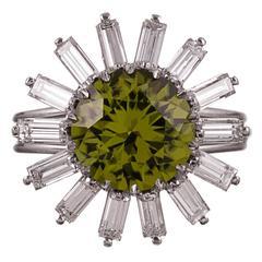 1950s Peridot Diamond Platinum Ballerina Ring