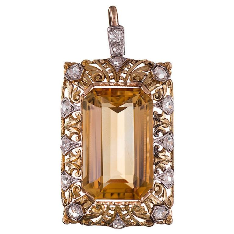 Citrine and Diamond Pendant For Sale