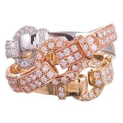 Tri Color Gold and Diamond Buckle Ring