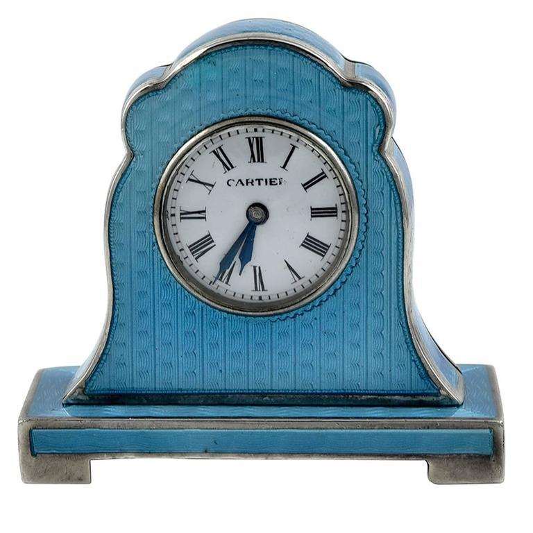 Cartier Antique Enamel Silver Miniature Mantel Clock 1