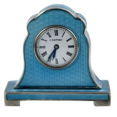 Cartier Antique Enamel Silver Miniature Mantel Clock