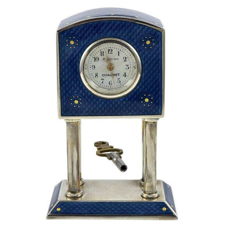 CHAUMET Enamel & Sterling Miniature Clock