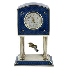 CHAUMET Enamel & Sterling Miniature Clock