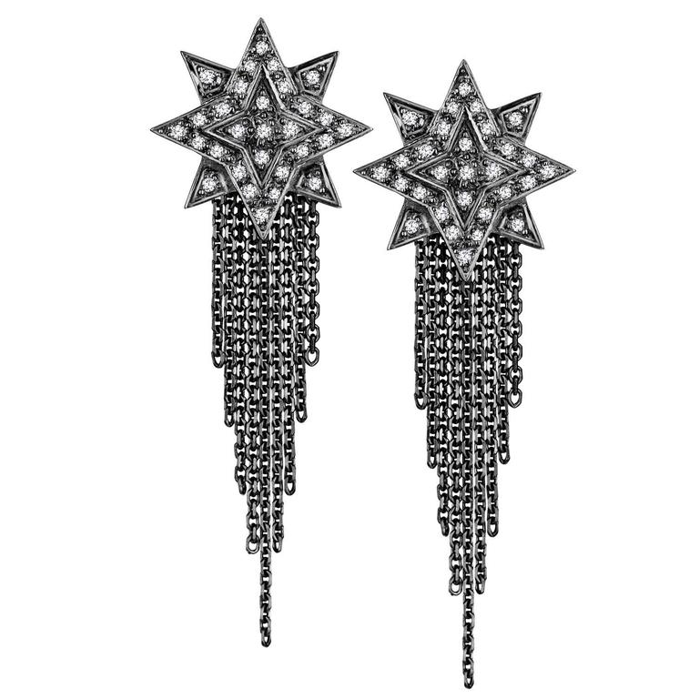 Ana De Costa Blackened White Gold Round White Diamond Star Drop ChainEarrings